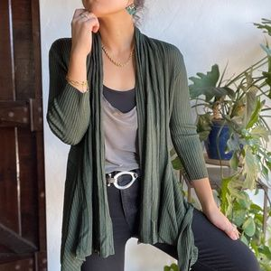 Orange | NWT Green Stretchy Ribbed Cardigan